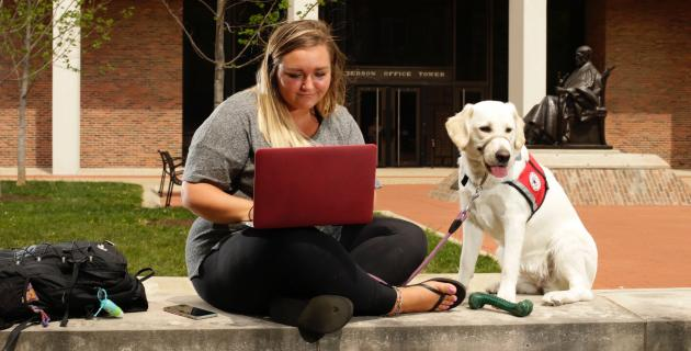 Student with service dog working on laptop