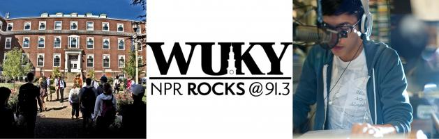 Photo of 3 images pertaining to WUKY: 1) the McVey Building where the station is located; 2) the station logo with the words WUKY on top of the workds NPR ROCKS @ 91.3, and 3) a student sitting with a headset on in front of a studio microphone