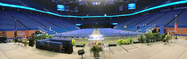 Photo of UK Commencement setup in Rupp Arena